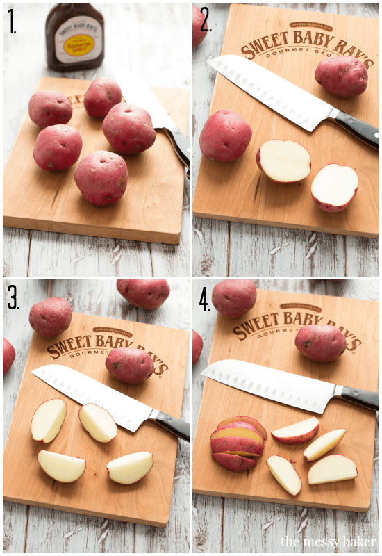 Cutting Potatoes into Wedges | www.themessybakerblog.com