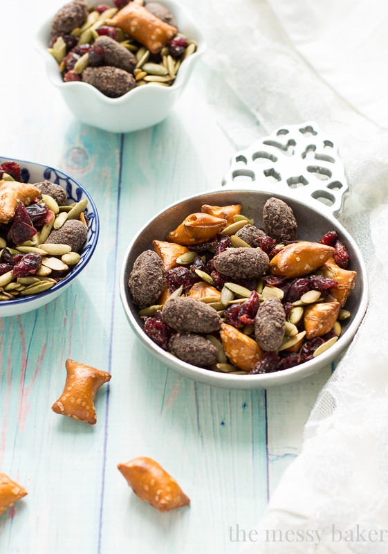 Easy Fall Trail Mix made with pumpkin seeds, dried cranberries, peanut ...