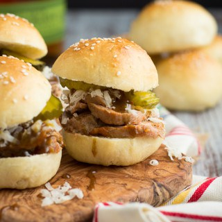 Cuban Pork Sliders with Mustard Bourbon Glaze | www.themessybakerblog.com | These meaty pork sliders come together with ease in 35 minutes.