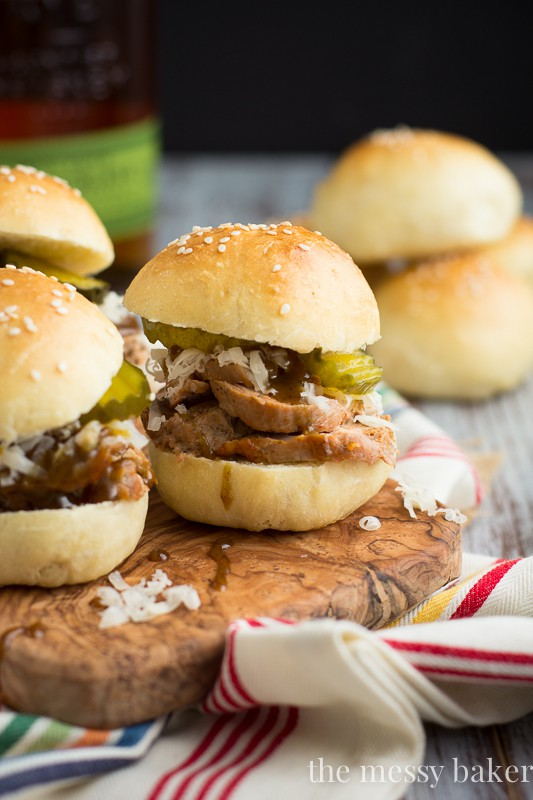 Cuban Pork Sliders with Mustard Bourbon Glaze   www.themessybakerblog.com   These meaty pork sliders come together with ease in 35 minutes.