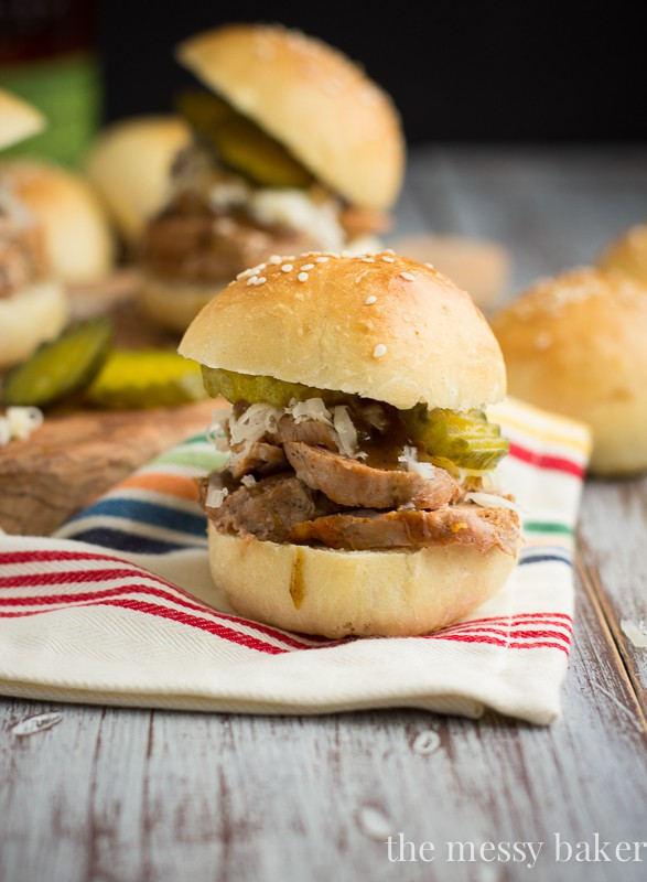 Cuban Pork Sliders with Mustard Bourbon Glaze | www.themessybakerblog.com