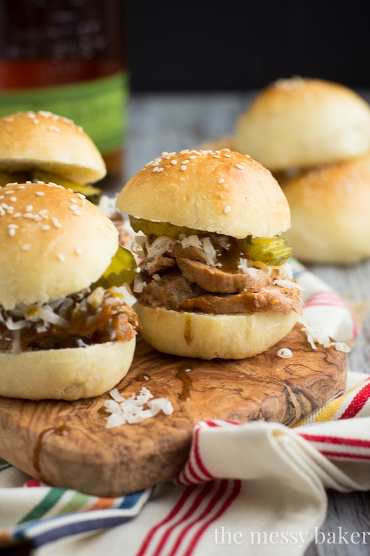 Cuban Pork Sliders with Mustard Bourbon Glaze   www.themessybakerblog.com   These mini sliders are perfect for entertaining, parties, and as a football appetizer.