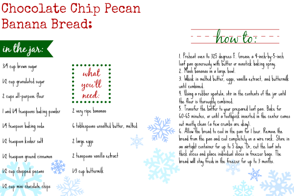Chocolate Chip Pecan Banana Bread Recipe Card | www.themessybakerblog.com