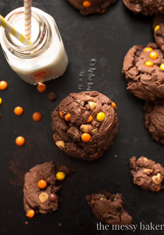 Chocolate Reese's Pieces Pudding Cookies | www.themessybakerblog.com