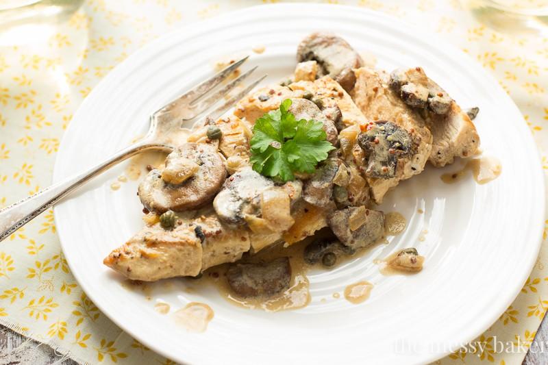 Creamy Dijon Chicken with Mushrooms | www.themessybakerblog.com