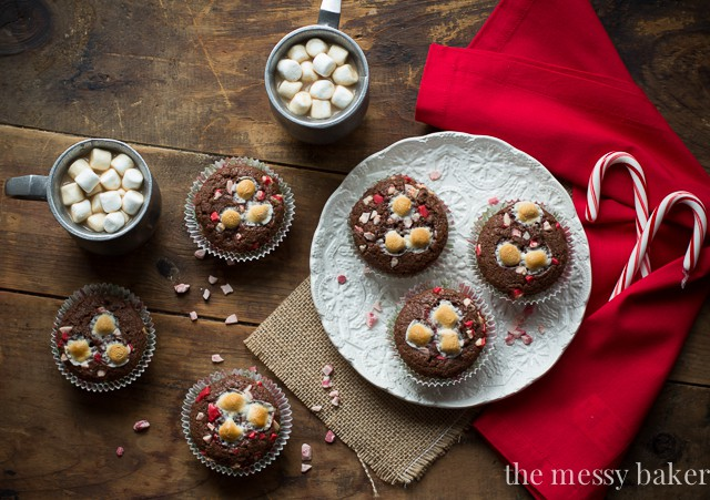 Hot Chocolate Peppermint Muffins   www.themessybakerblog.com