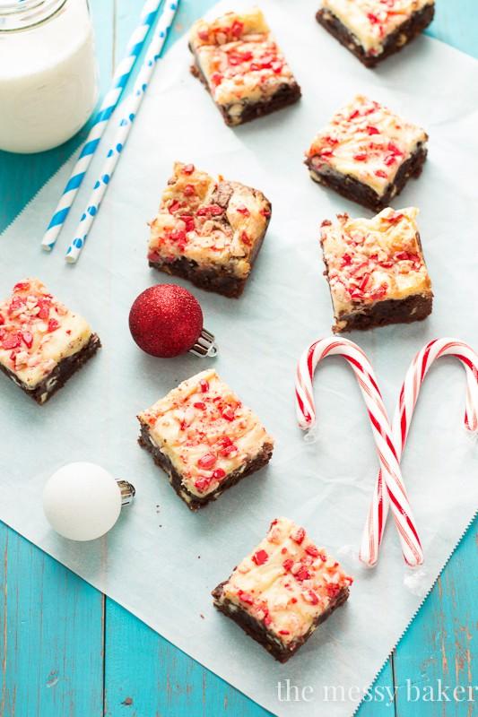 Peppermint Cheesecake Swirl Brownies   www.themessybakerblog.com