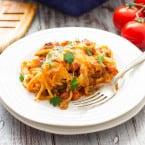 Southwestern Spaghetti Pie Casserole | www.themessybakerblog.com