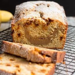 Banana Bread with Cookie Butter Cheesecake Swirl | www.themessybakerblog.com
