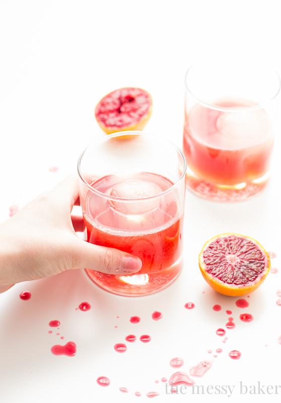 Blood Orange Bourbon Fizz Cocktail