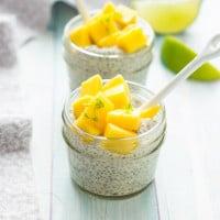 Mango Chia Seed Pudding topped with Honeyed Mangoes | www.themessybakerblog.com