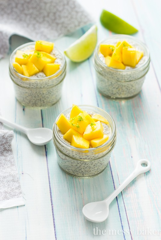 Mango Chia Seed Pudding topped with Honeyed Mangoes