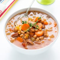 Slow Cooker Navy Bean Soup with Ham | www.themessybakerblog.com