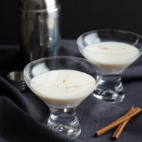 Caramel Cinnamon Martini {RumChata, Caramel Vodka, Cinnamon} | www.themessybakerblog.com
