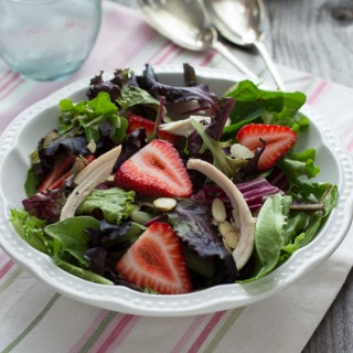 Chicken, Strawberry & Toasted Almond Salad with Strawberry Balsamic Vinaigrette