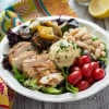 Mediterranean Chicken & Grilled Veggie Salad with Hummus and Lemon Tahini Dressing
