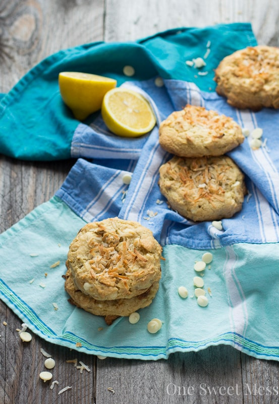 Soft-Baked Lemon Coconut Cookies with Toasted Almonds and White Chocolate Chips