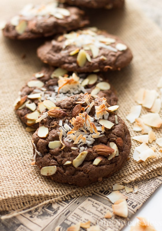 Double Chocolate Almond Joy Cookies