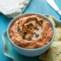 Sun-Dried Tomato & Roasted Red Pepper Hummus {Gluten-Free & Vegan}