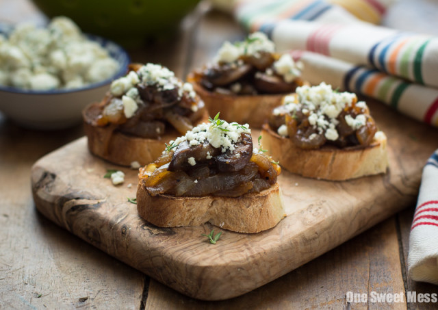 Caramelized Onion & Mushroom Crostini with Blue Cheese Crumbles