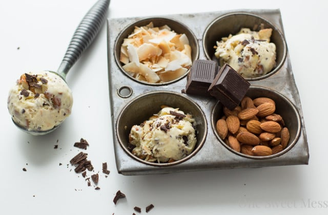 Toasted Coconut Ice Cream with Almonds and Dark Chocolate