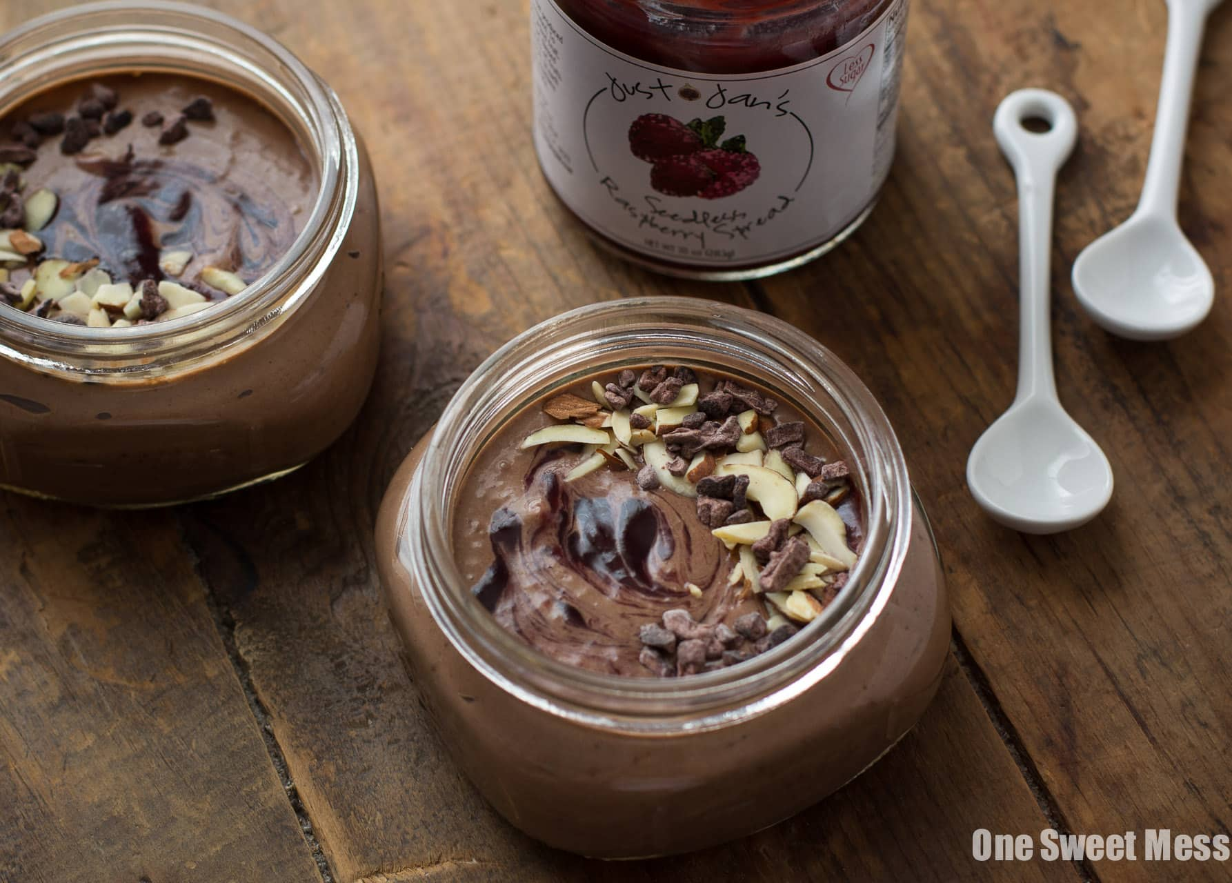 Vegan Chocolate Pudding with Raspberry Swirl (Healthy + Gluten-Free)