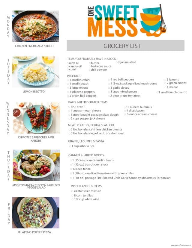 Week of August 3rd 2015 Meal Plan + Grocery List