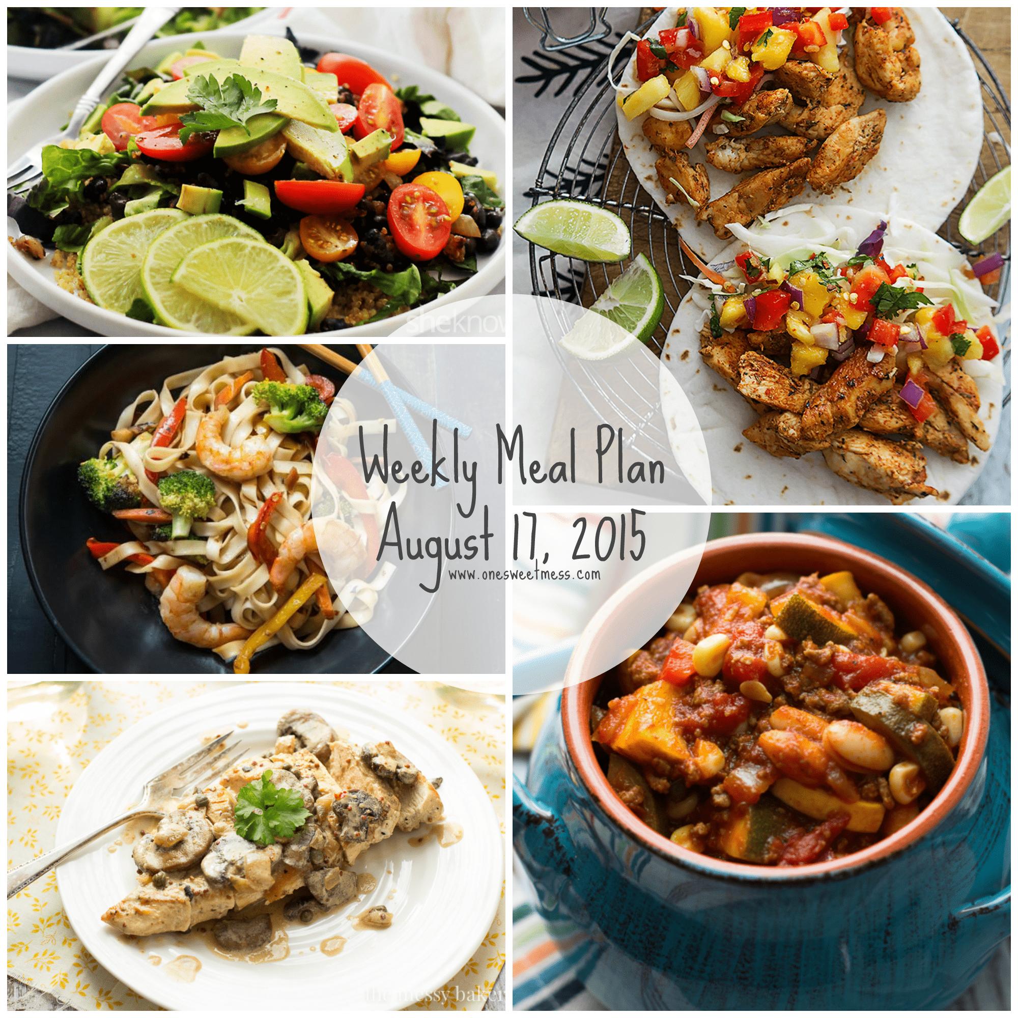 Week of August 17, 2015 Meal Plan with Printable Menu + Grocery List