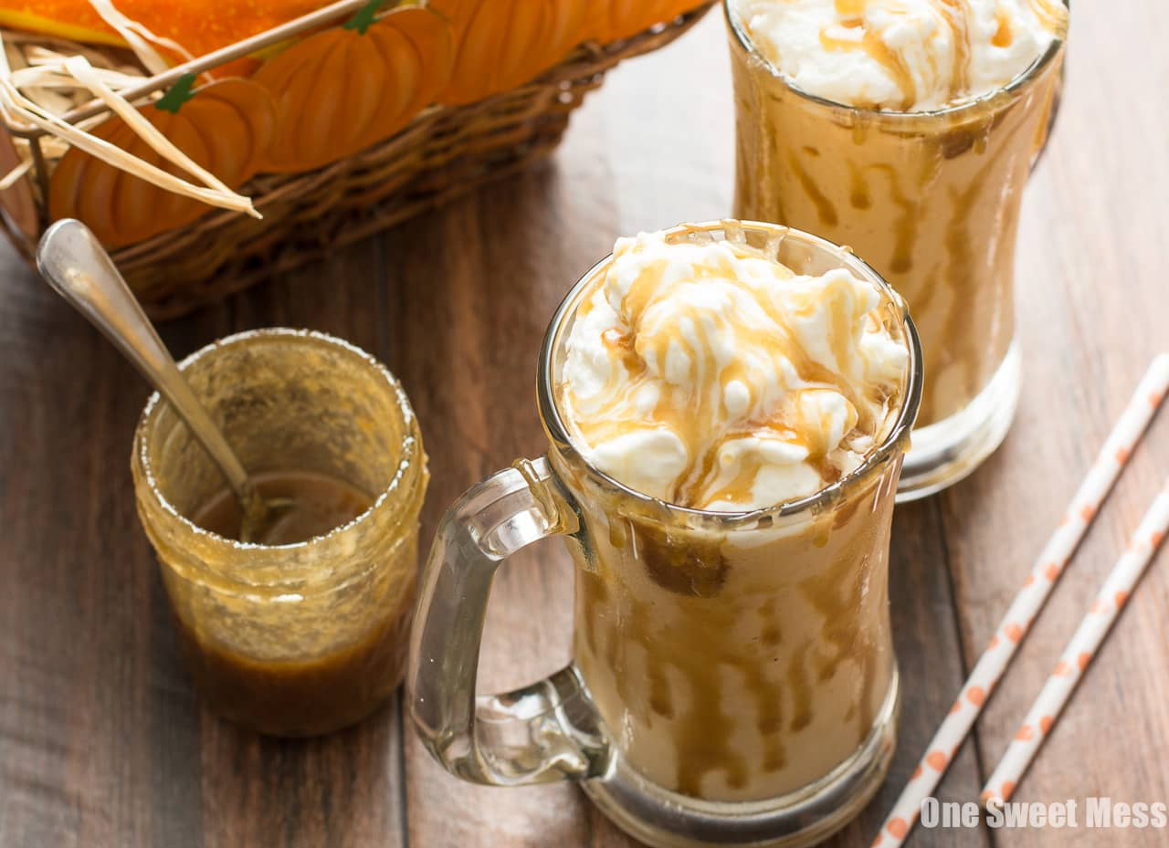 Caramel Pumpkin Pie Milkshake | A few scoops of vanilla ice cream, slice of pumpkin pie, and caramel