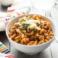 One Pot Chili Mac | Tender beef, gooey cheese, and pasta in one easy weeknight dish.