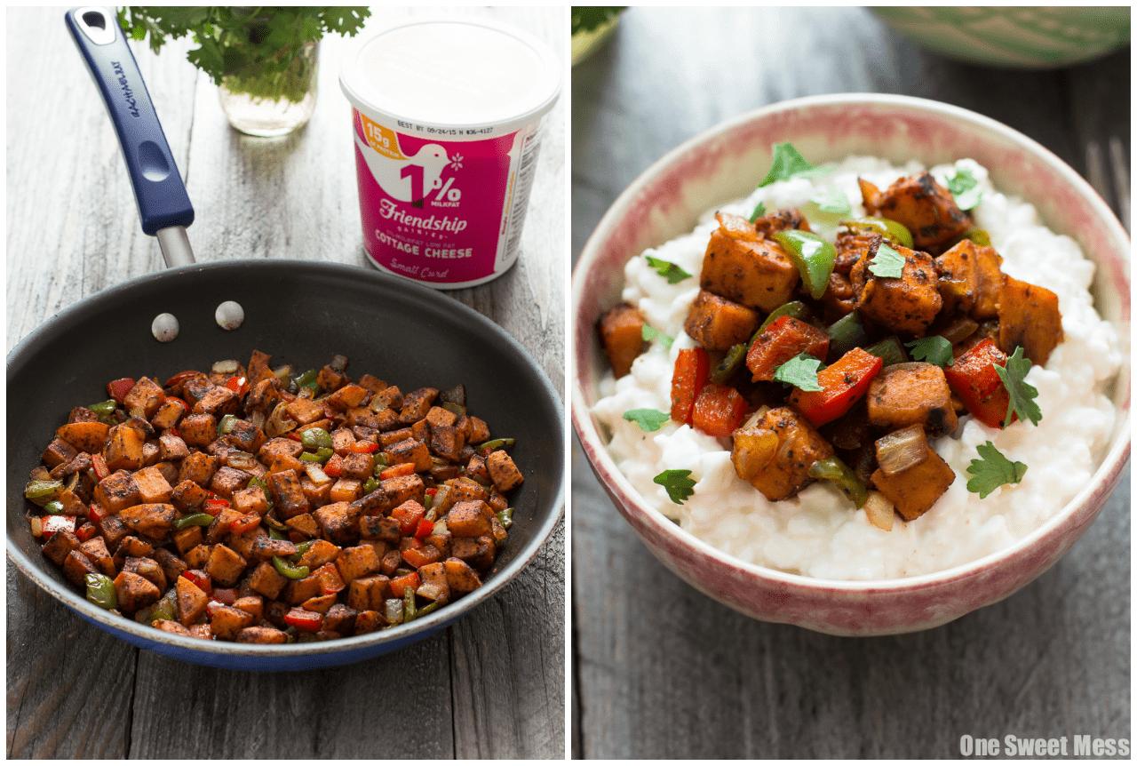 Sweet Potato Fajita Cottage Cheese Bowls {Vegetarian +Gluten-Free}