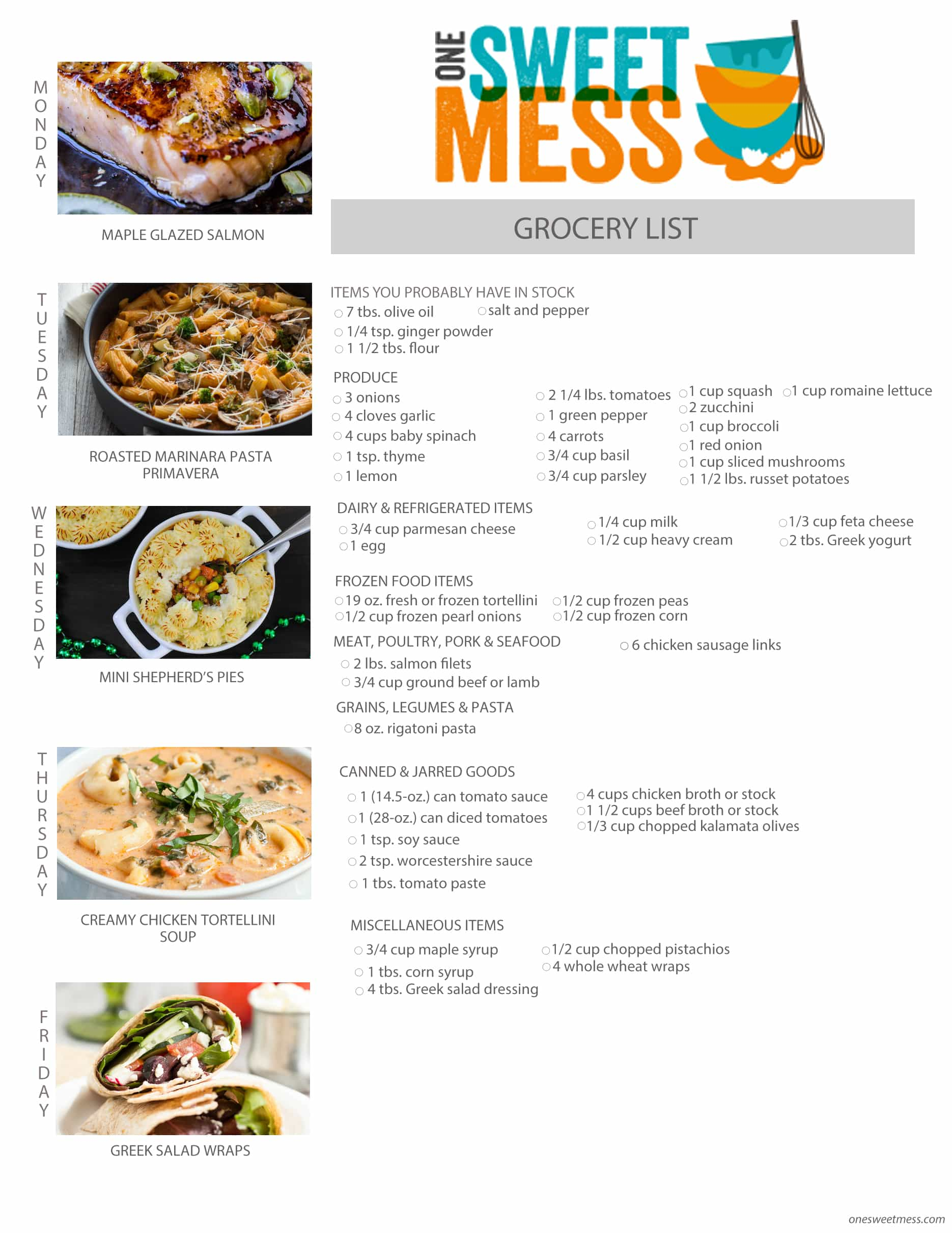 Week of September 14th, 2015 Meal Plan + Printable Grocery List