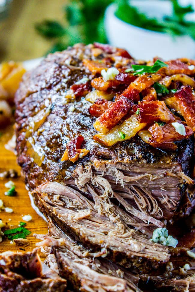 Slow Cooker Bacon Blue Cheese Brisket