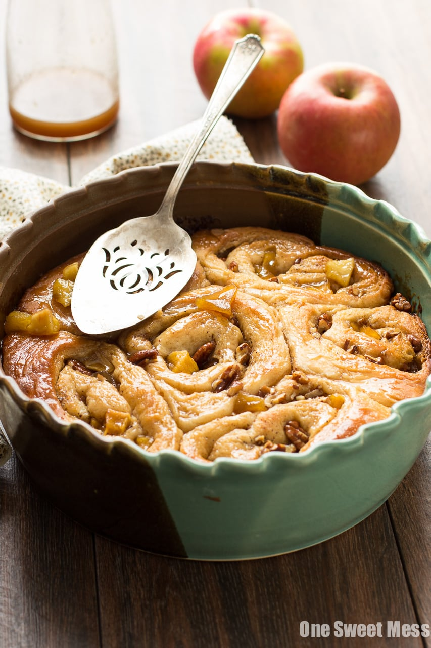 Caramel Apple Cinnamon Rolls - One Sweet Mess