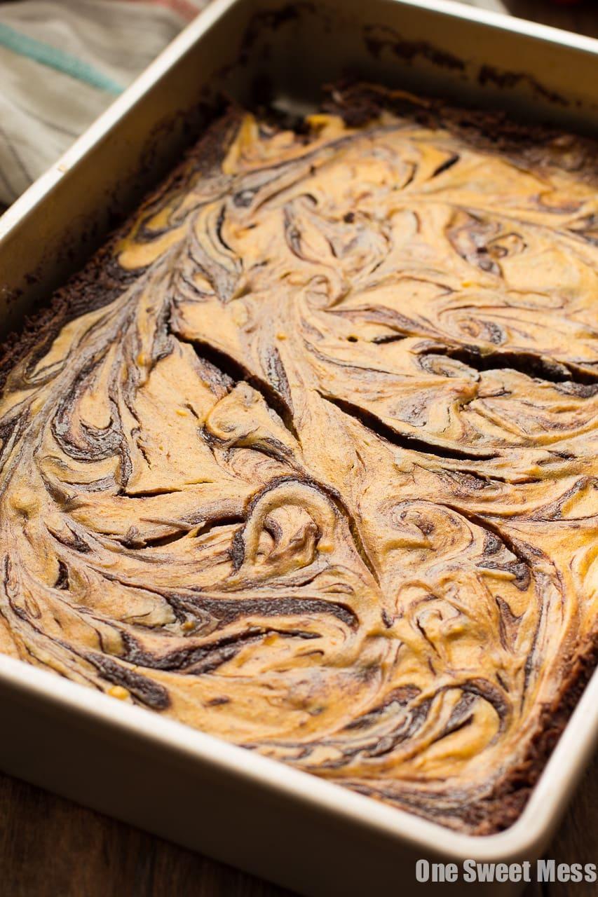 Pumpkin Cheesecake Swirl Brownies