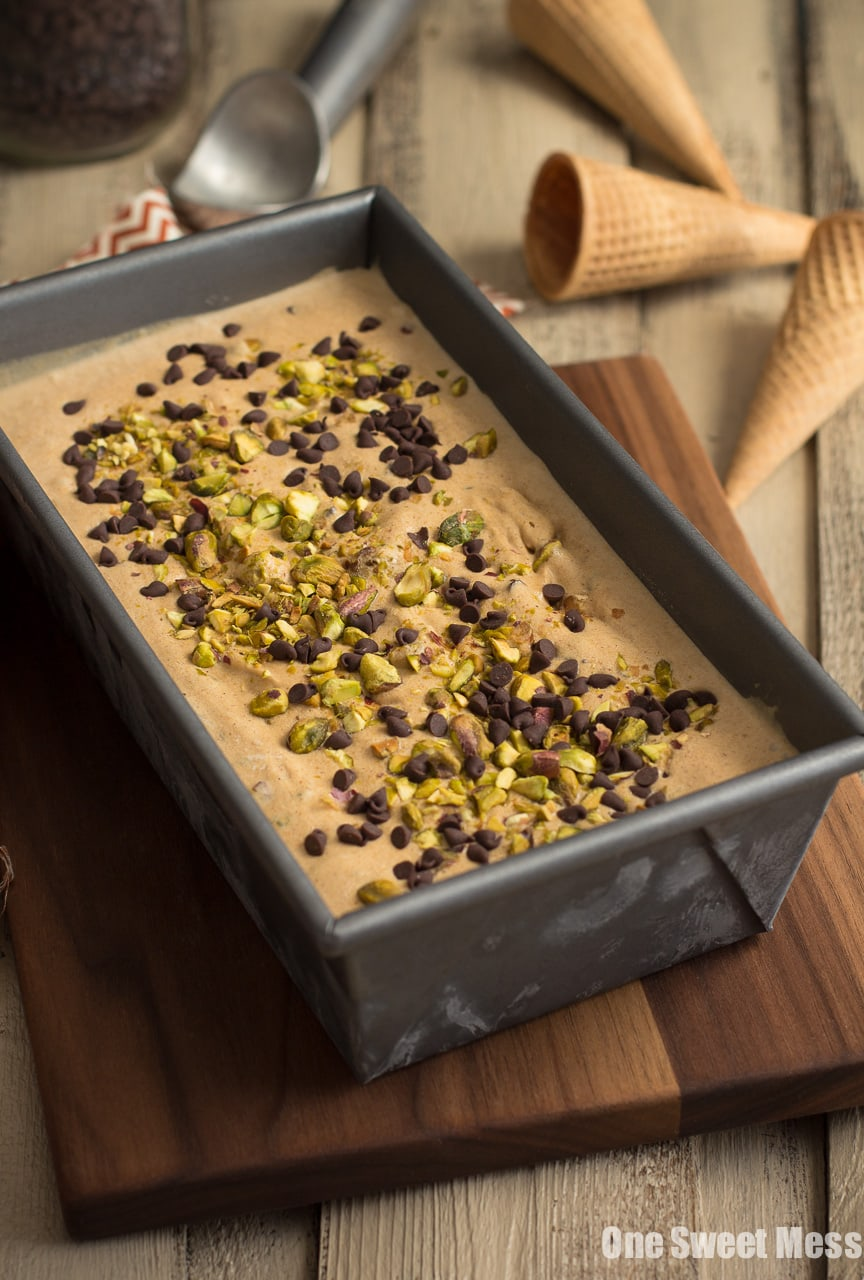 Pumpkin Spice Latte Ice Cream with Toasted Pistachios and Mini Chocolate Chips