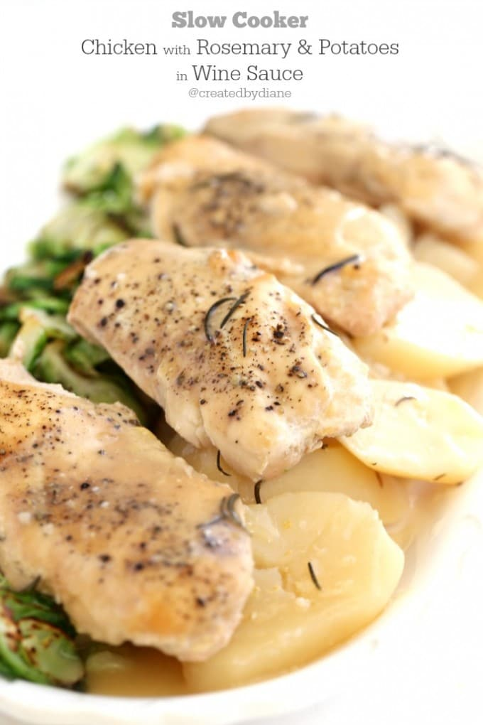 Slow Cooker Chicken with Rosemary and Potatoes in Wine Sauce
