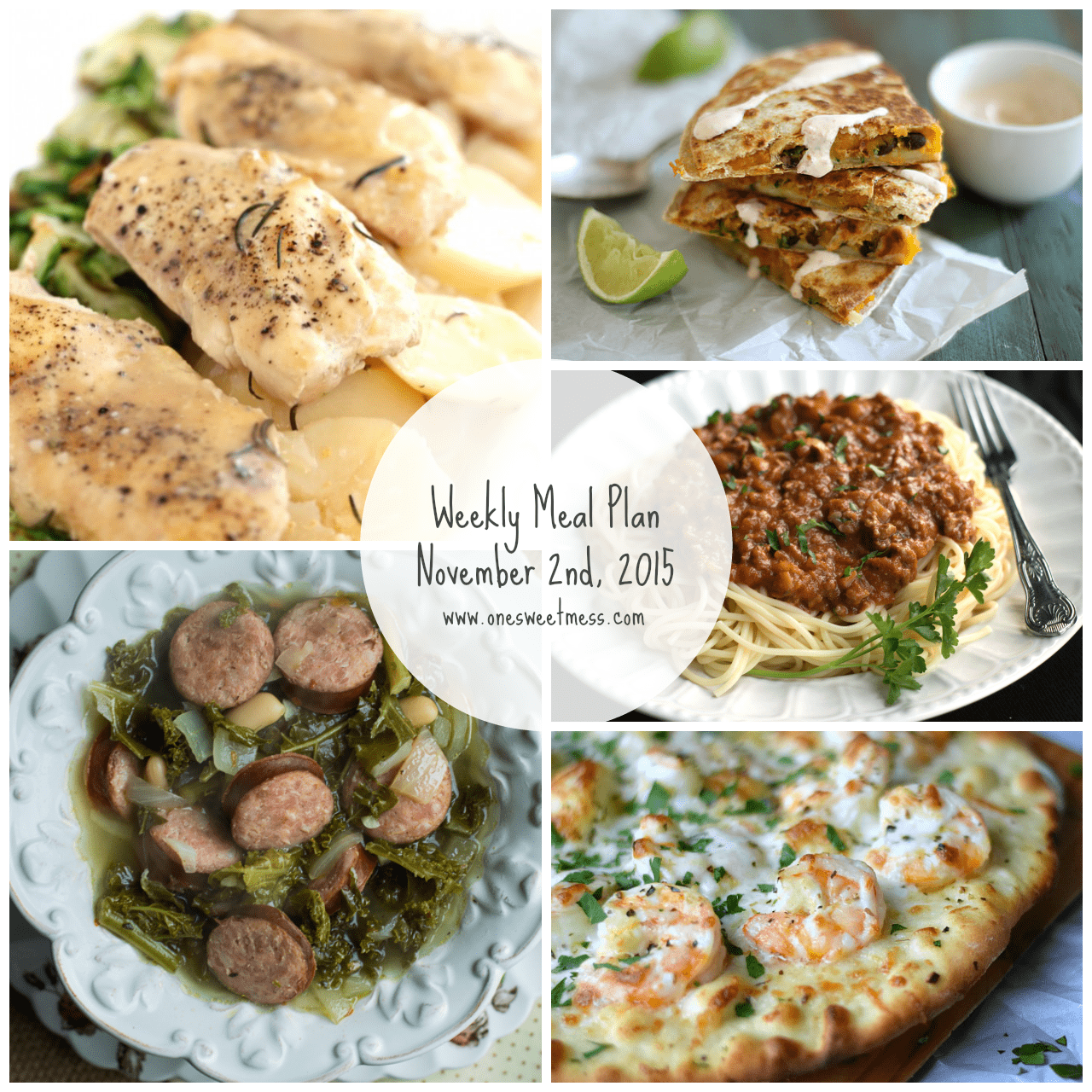 Weekly Meal Plan + Printable Grocery List | Week of November 2nd, 2015