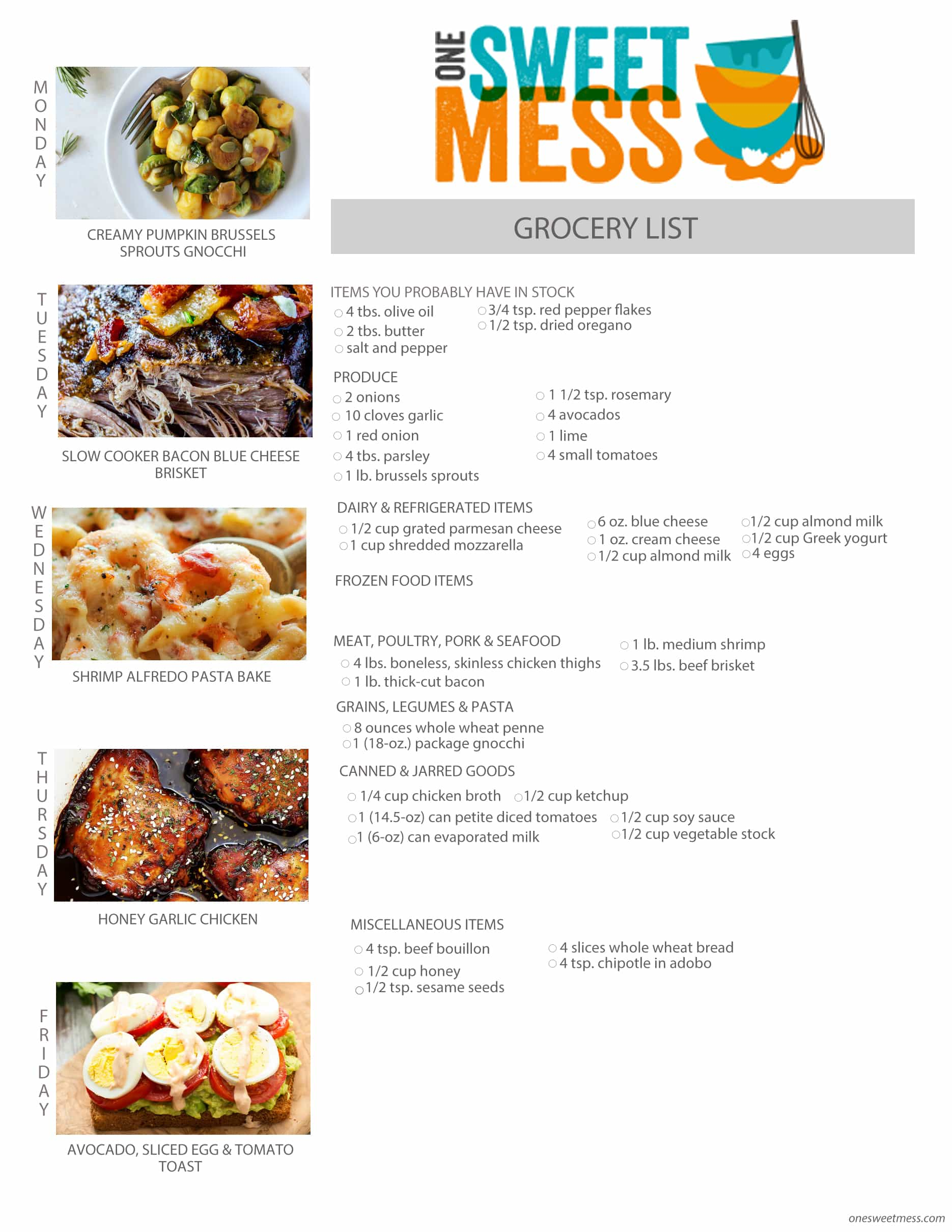 Weekly Mel Plan + Printable Grocery List | October 26th, 2015