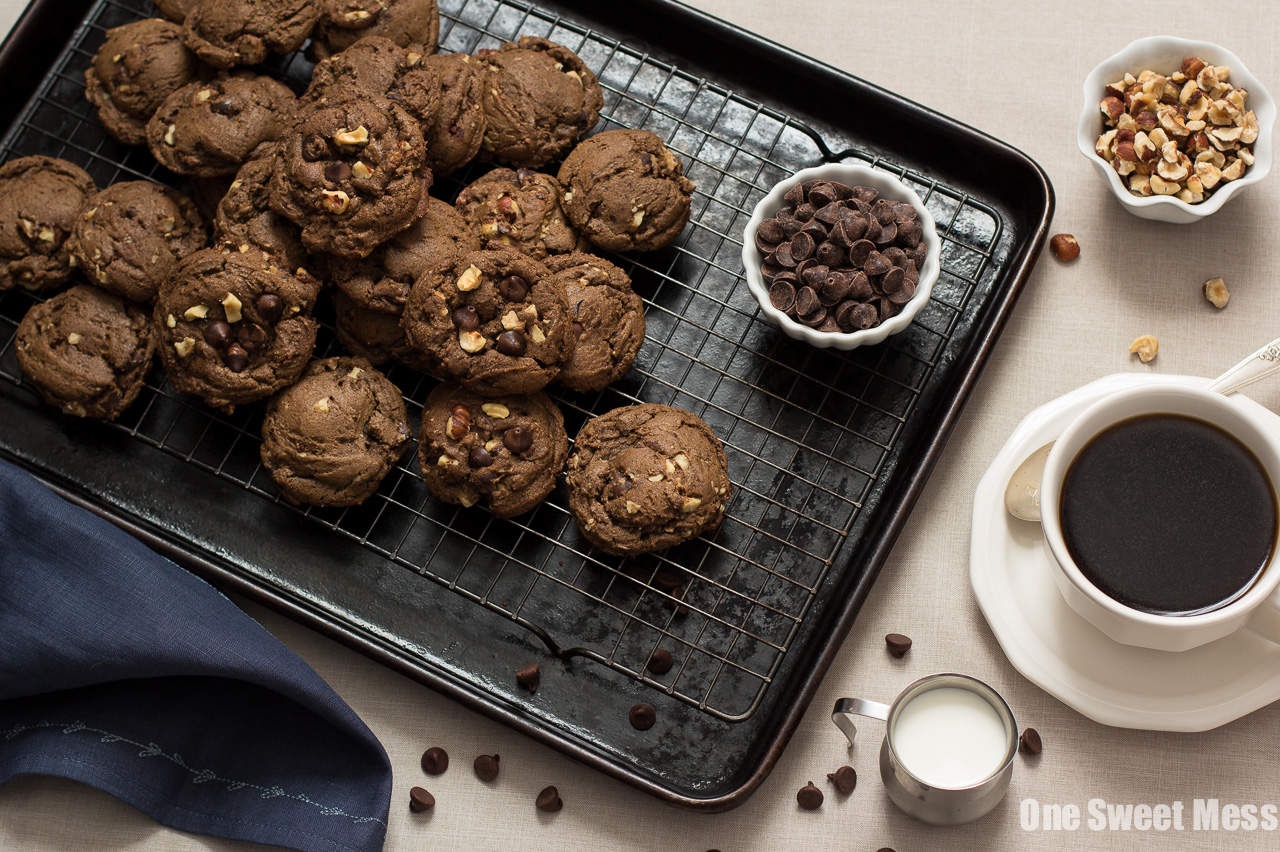 Chocolate Espresso Toasted Hazelnut Cookies