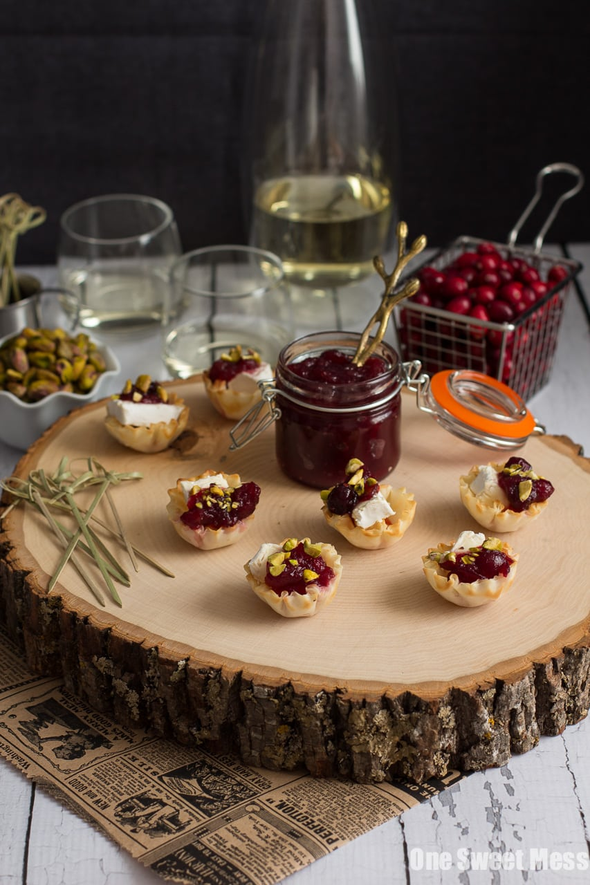 Cranberry, Brie & Toasted Pistachio Phyllo Cups