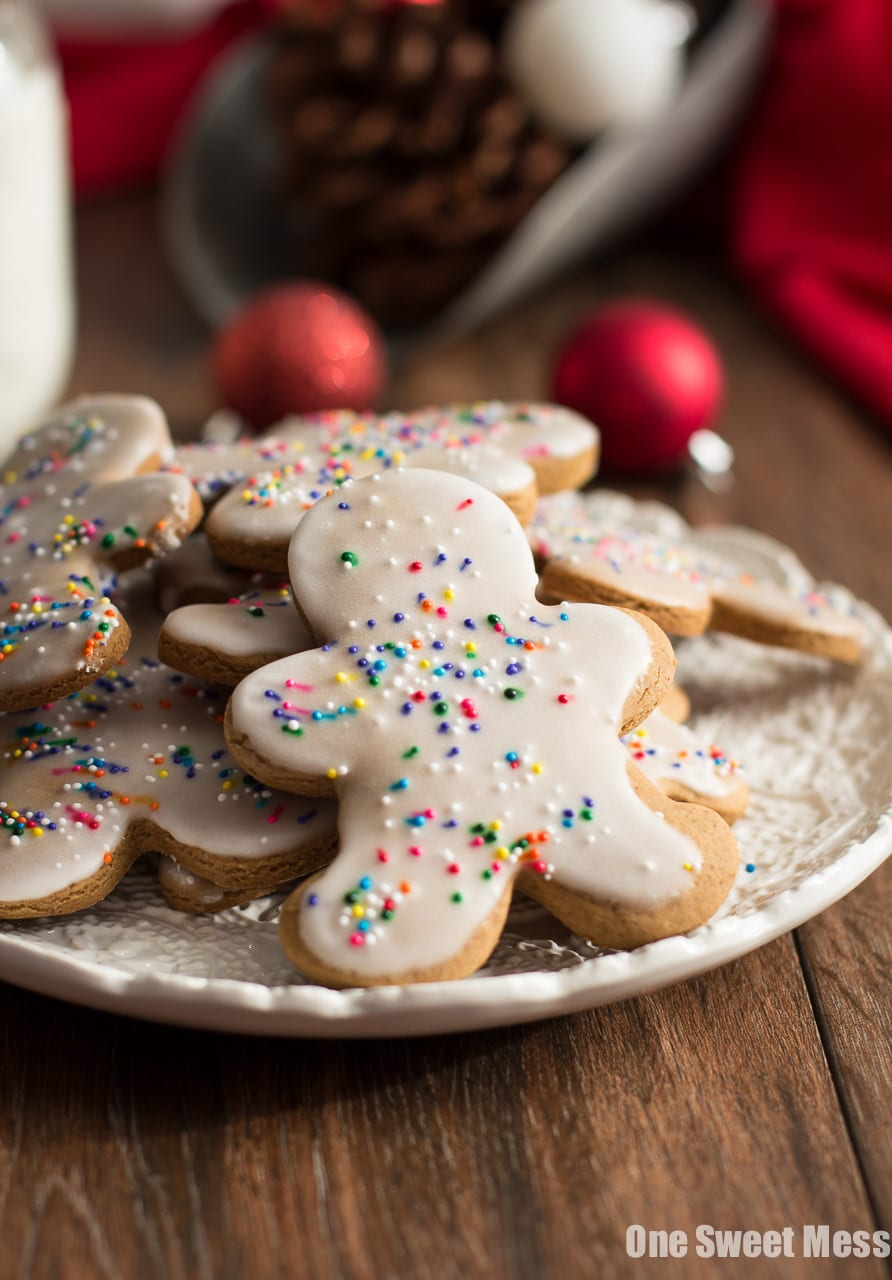 Glazed Gingerbread Men: These warm, spicy cookies are easy to make and eat! They get dipped in a sweet, creamy glaze and topped with festive sprinkles.