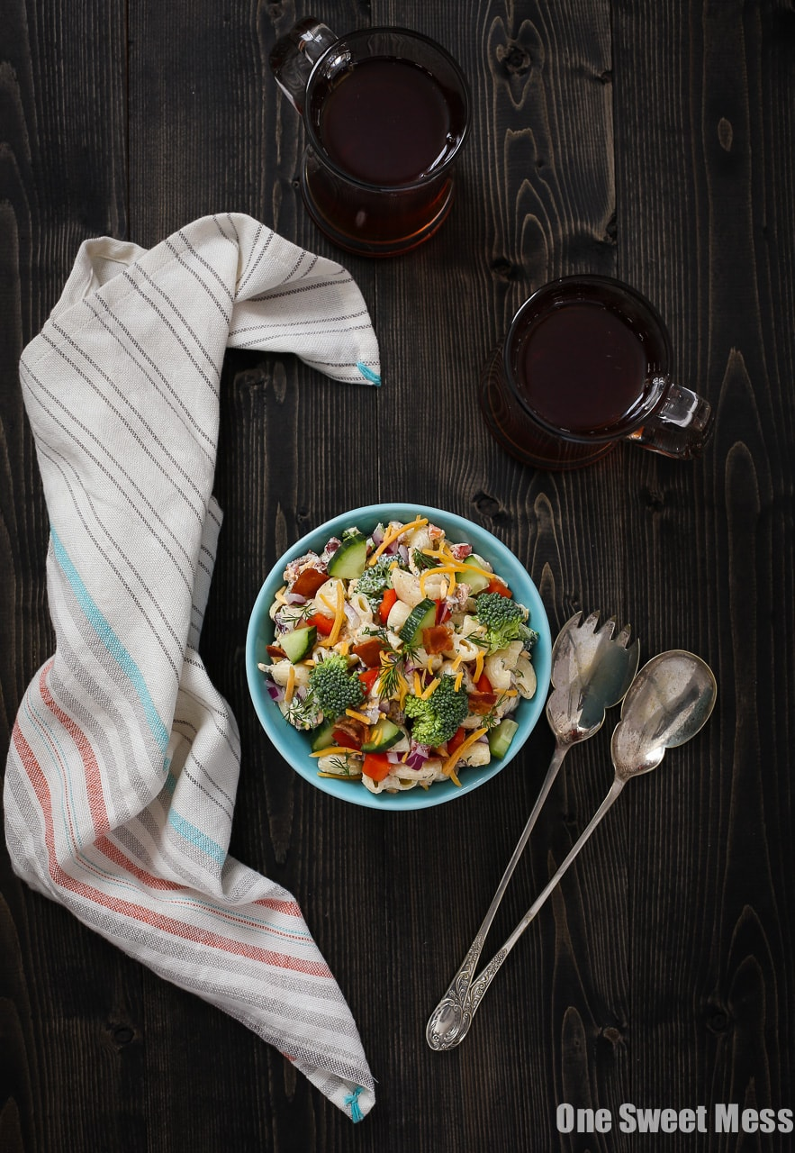 Cheddar Bacon Ranch Pasta Salad: This veggie-loaded pasta salad gets drenched with Greek yogurt ranch dressing and loaded with shredded cheddar cheese and crispy bacon crumbles.