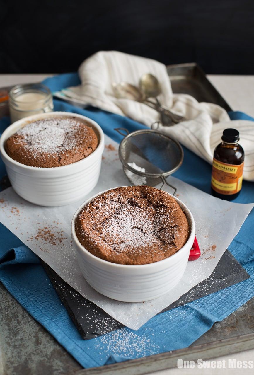 Chocolate Almond Souffles with Amaretto Glaze