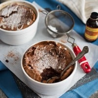 Chocolate Almond Souffles with Amaretto Glaze