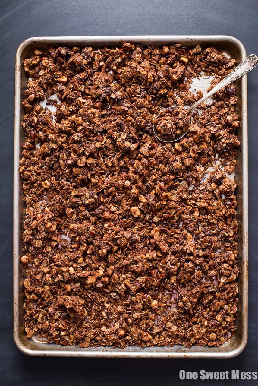 Chocolate Hazelnut Granola with Mini Chocolate Chips and a crunchy Turbinado Sugar Coating