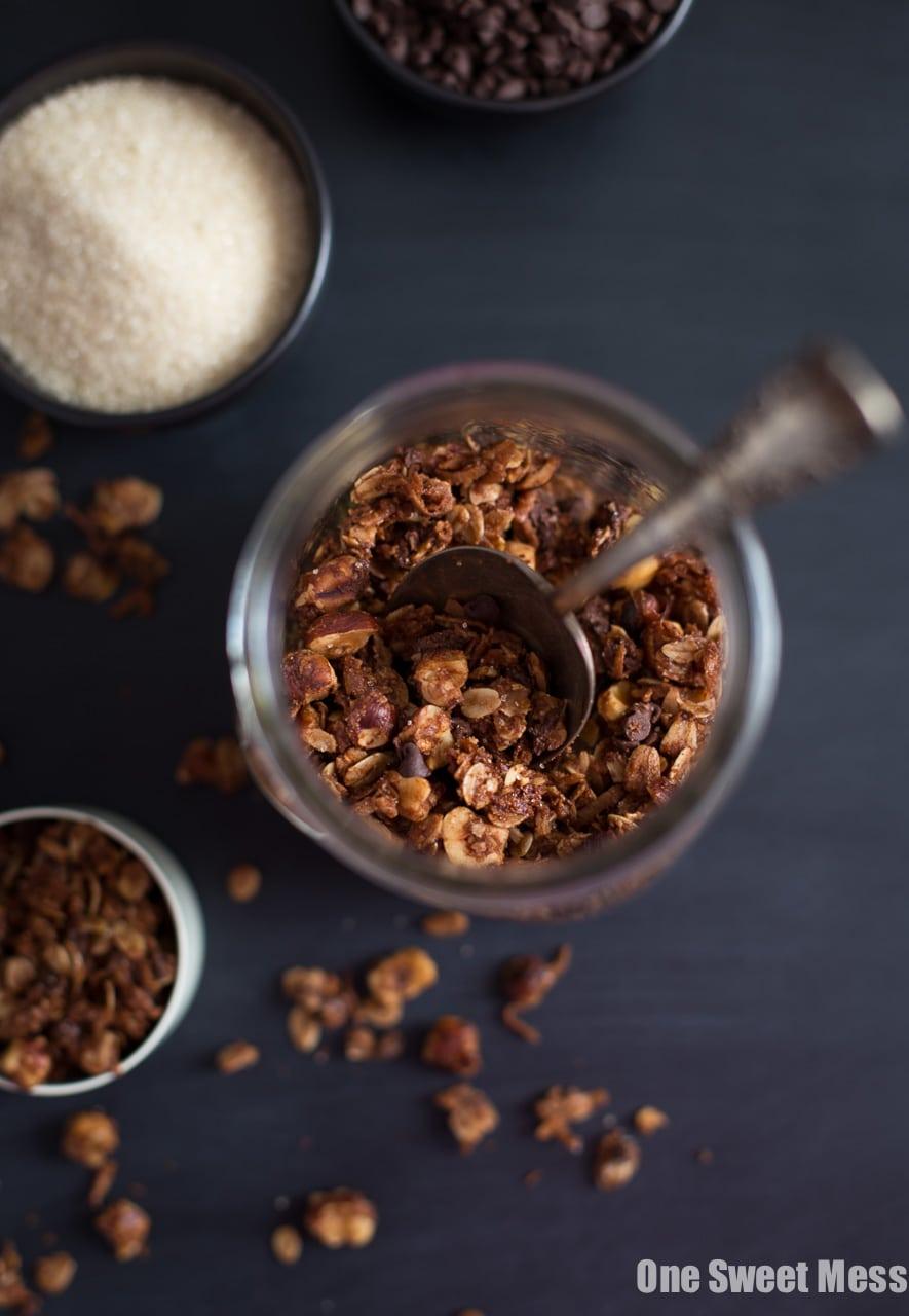 Chocolate Hazelnut Granola with Mini Chocolate Chips and a crunchy Turbinado Sugar Coating