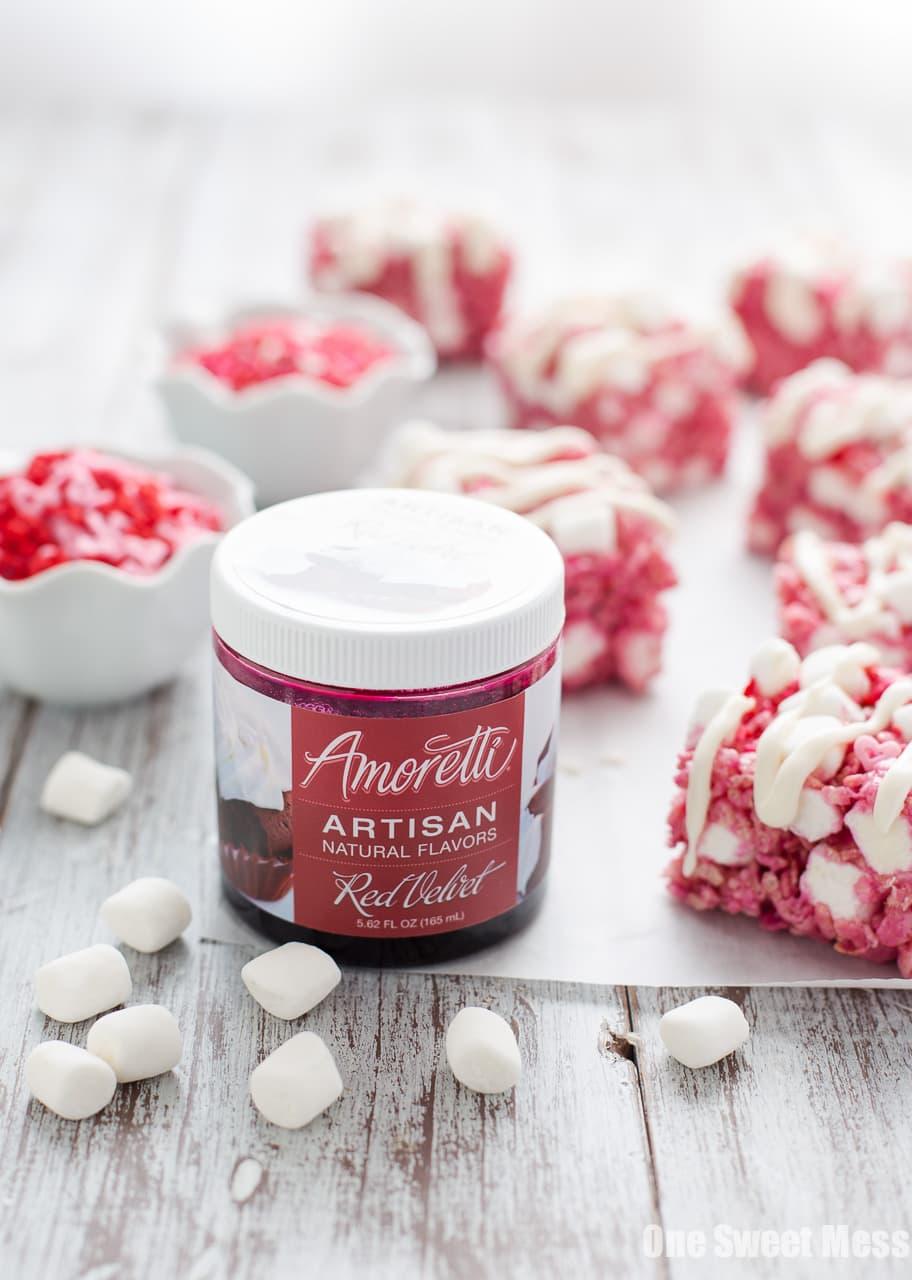 Red Velvet Rice Krispie Treats with Cream Cheese Glaze