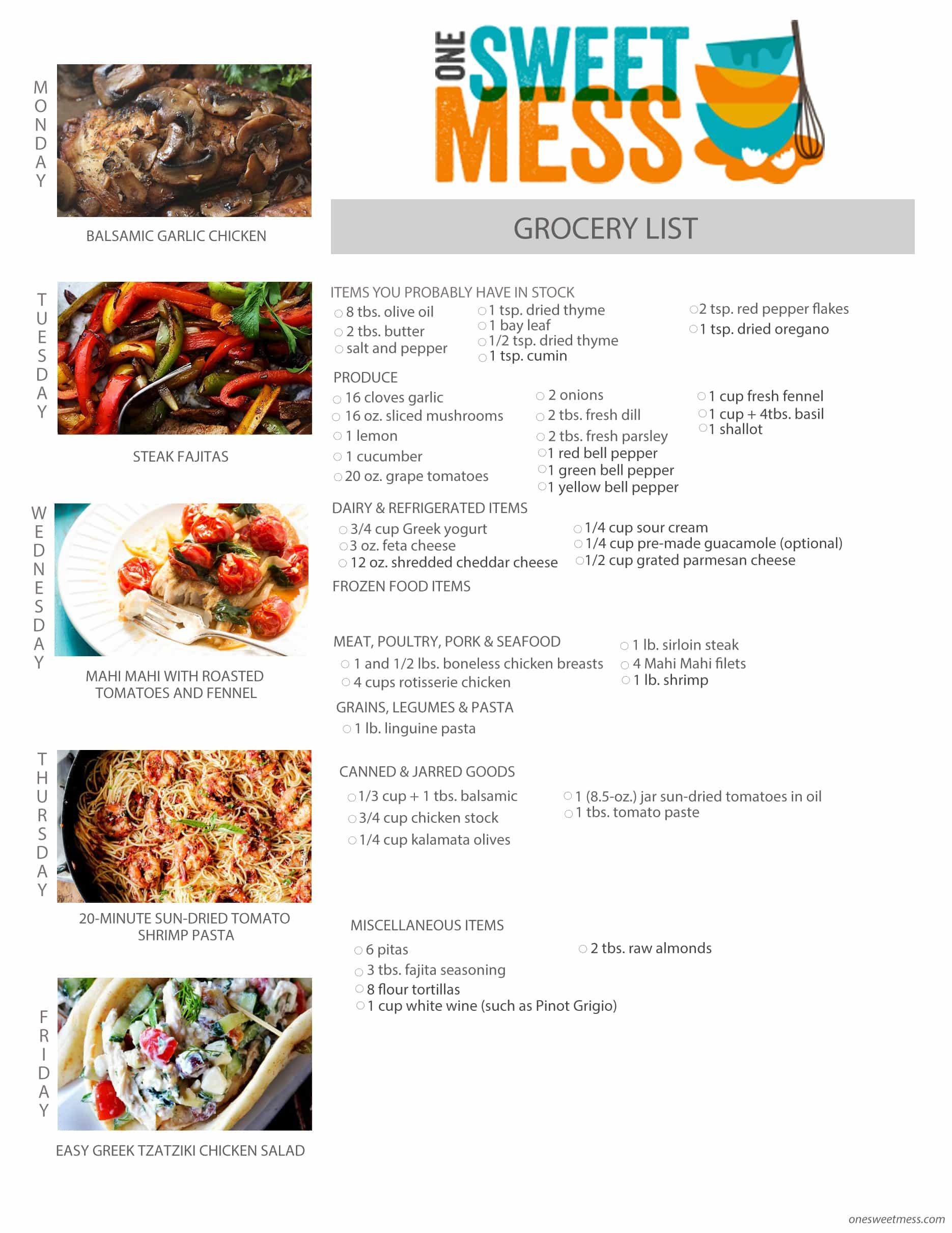 Week of February 29th, 2016 Weekly Meal Plan + Printable Grocery List