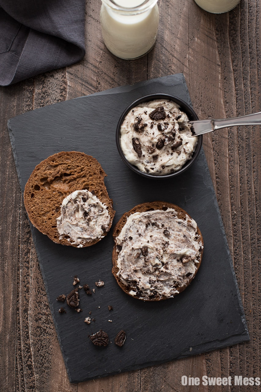 Chocolate Bagels with Cookies & Cream Whipped Cream Cheese